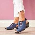Featured style: Faye sandal in denim (blue).